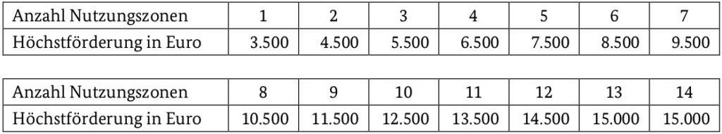 Tabelle Foerderhoehe bei Energieberatung für Nichtwohngebaeude von Kommunen und gemeinnützigen Organisationen
